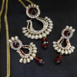 Red-and-White-Stone-studded-Pendant-Set