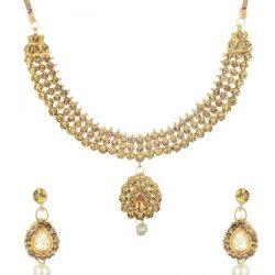 artificial gold stone artificial choker necklace set-3