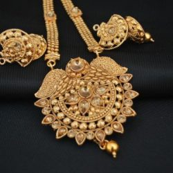 Imitation Shimmery gold temple jewellery necklace set