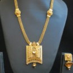 artificial reeti fashions – gold tone long haram style necklace set