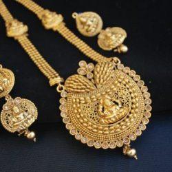 Imitation temple jewellery goddes laxmi long necklace set