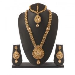 Imitation Bridal Jewellery set in Gold Tone Stones (4 Pieces)Imitation Bridal Jewellery set in Gold Tone Stones (4 Pieces)