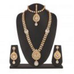 Imitation artificial bridal Jewellery set in gold tone stones (4 Pieces]