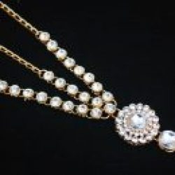 Imitaion artificial bridal jewellery set in white tone stones (4 Pieces)