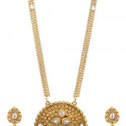artificial reeti fashions round motif gold tone necklace set