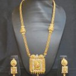 Imitation traditional golden white stone temple design long haram style necklace set