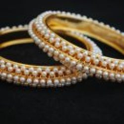Imitation Jewellery - A Pair of white pearl design Bangles
