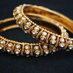 A Pair Golden colour White Stone Studded Bangles