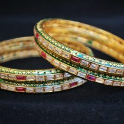Imitation artificial jewellery multi colour cz copper base bangle