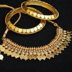 Laxmi Choker Coin Necklace Set Matching Laxmi Coin Bangles