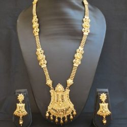 Imitation golden perfect for wedding traditional Imitation long haram necklace set