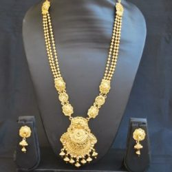 Imitation Brown stone studded elegent long necklace set