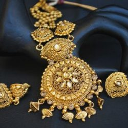 Imitation wedding Jewelry set in gold tone long haram