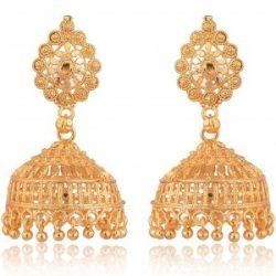 artificial traditional gold base metal jhumki earrings for women