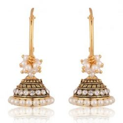artificial traditional clustered off white pearls base metal bali earrings for women