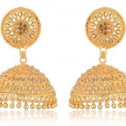 artificial imitation golden traditional base metal jhumki earrings for women