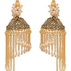 artificial designer clustered white pearls base base metal bali's for women-1