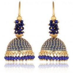 artificial traditional royal blue colour clustered beads golden base metal bali earrings for women-1