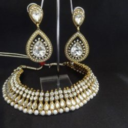 Imitation artificial ruby and pearl earring with necklace-2