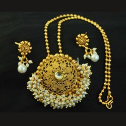 Hand Crafted Gold Plated Pendant set with Chain