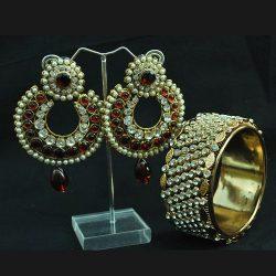 earrings and kada set
