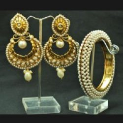 Crescent Pearl earrings with Bangles set