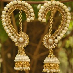 Designer Bridal Pearl studded Long Peacock Jhumkaa Earrings